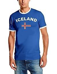 WM 2018 ICELAND T-SHIRT mit Deinem NAMEN + NUMMER ! Fußball Trikot Ringer ISLAND BLAU S M L XL XXL