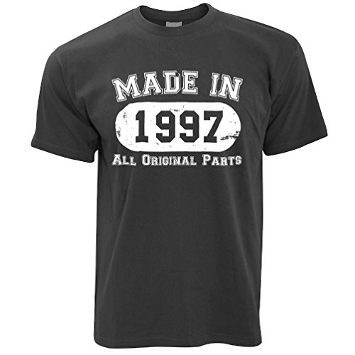 Tim And Ted 21st Birthday Mens T-Shirt Made in 1997 Distressed Twenty First Original Parts Apparel 21 Years Old Retro Slogan Cool Funny Gift Present