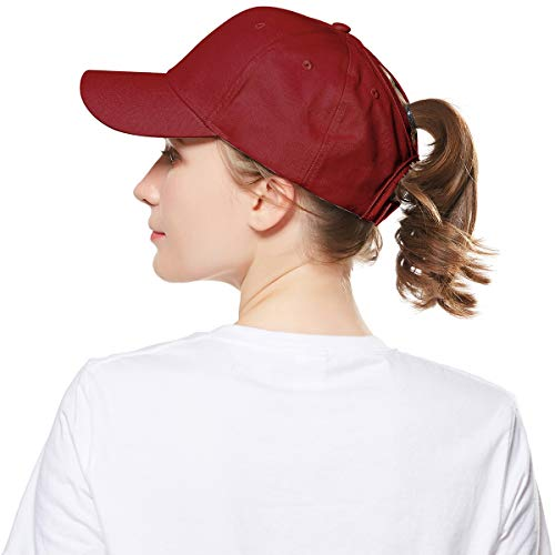 WELROG Dame Baseball Kappe Hip-Hop-Hut Verstellbar Baumwolle Pferdeschwanz (Weinrot)