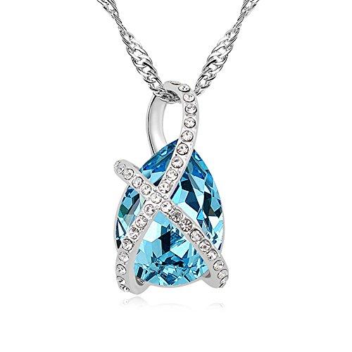 Swarovski Kristall Elements Kette Tropfen Anhänger Aquamarin Liebe Halskette Licht Blau 18