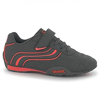 Lonsdale Kids Camden Child Boys Trainers Lace Up Casual Sports Shoes  Footwear Charcoal/Orange UK