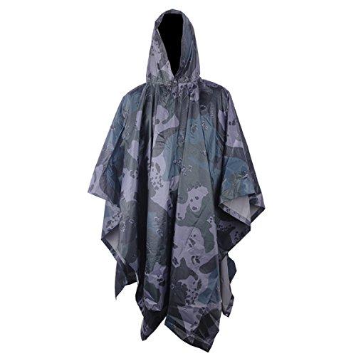 chter US-Army Regenponcho Regenmantel mit Kapuze Festival Militär Camping Bergsteigen Army Poncho Schutz Regenbekleidung Regen Umhang (Us Halloween Kostüme)