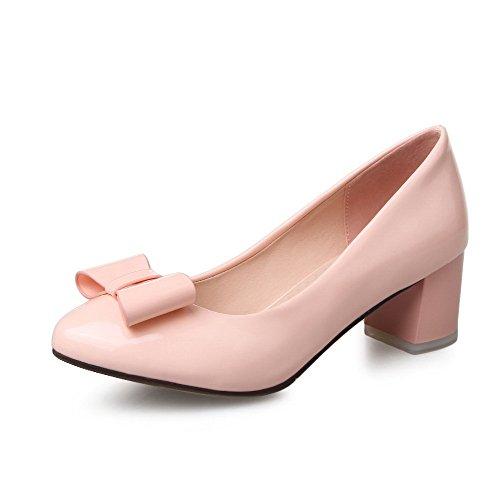 Odomolor Damen Rein Lackleder Mittler Absatz Spitz Zehe Ziehen auf Pumps Schuhe, Pink, 36