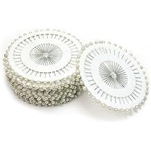 480 x Nuevos Alfileres Con Cabeza Redonda Perla de Imitación Longitud 36mm DIY
