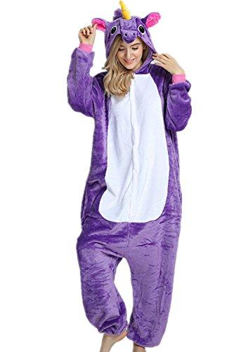 VineCrown Adulte Licorne Pyjama Déguisement Combinaison Costume Grenouillère Nouveauté à Capuche Animal Pyjamas Nuit Vêtements Halloween Carnaval Noël (M for 160CM-168CM, Violet)