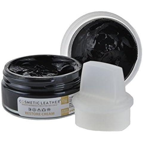 Crema per scarpe autolucidante nero 50ml con spugna applicatore stendi