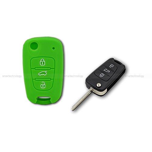 Taste Pumpe (Schale Cover in Silikon Farbe für Schutz Schale Fernbedienung Schlüssel 3drei Tasten Auto Hyundai i10i20i30ix35ix20Elantra verschiedenen Farben grün)