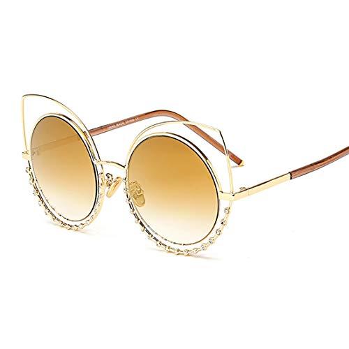Cat Eyes Design Übergroße Damen Sonnenbrillen aus Kristall mit UV-Schutz. Brille (Farbe : Gold)