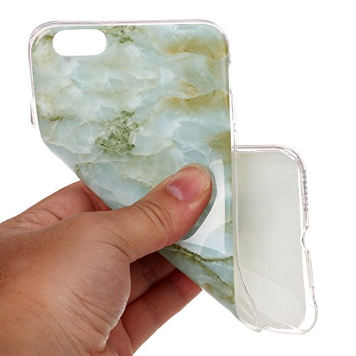 iPhone 6S Plus Hülle,iPhone 6 Plus Hülle,ikasus® TPU Silikon Hülle Schutz Handy Hülle Case Tasche Etui Bumper Crystal Case Hülle für Apple iPhone 6S Plus / 6 Plus (5,5 Zoll) Glänzende Marmor Textur Mu Grün Marble