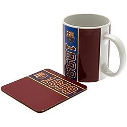 -F.C. Barcelona Juego de taza y posavasos de, 312 ml, taza de cerámica, único posavasos, en caja de acetato oficial