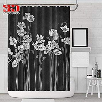 Farmerly Bath Shower Floral Curtain Home Decor Bathroom Polyester Painting Custom Country Style Waterproof Decorative Screen Single Panel Curtain1 180X180cm -