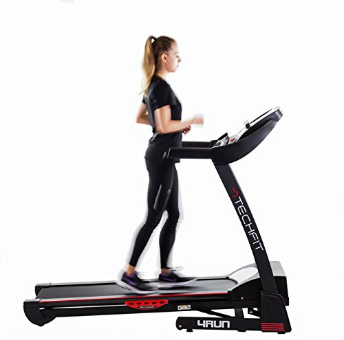 TechFit 4RUN Faltbares elektrisches Laufband, 2,0 PS, 15 Stufen manuelle Neigung, Lauffläche 125 x 45 cm, LDC-Display, Tablet-Halter, MP3-Reader