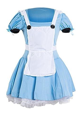 Sexy Alice im Wunderland Kostüm– Enthält ein blaues Kleid, eine weiße Schürze und einen schwarzen Haarreifen – schickes Kostüm für Halloween- oder Teepartys– Erhältlich in den Größen 34 -