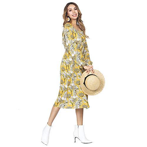 FeelinGirl Frauen Chiffon Sommerkleider Deep Maxikleid Blumendruck Strandkleid Floral Long Minikleid Vintage Abendkleid Langarm T-Shirt Partykleid Cocktailkleid
