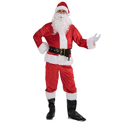 GSDZN - Mens Santa Claus,Santa Claus Kostüm, 7 Stück, Hut, Bart, Oberteil, Gürtel, Handschuhe, Hose, Schuhoberteil, Einheitsgröße,OneSize