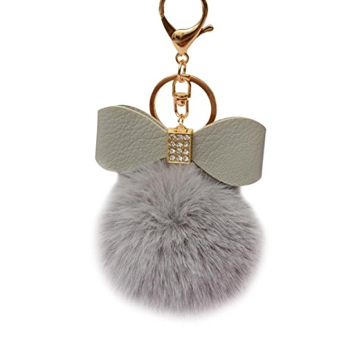 Keychain Key Ring Pendant,Sainagce 1 Pcs Elegant Bowknot Fluffy Plush Faux Fur Pom Pom Key Pendant Key Chain Key Ring Keychain Keyring for Car Handbag Bag Accessories Small Gift (Gray)