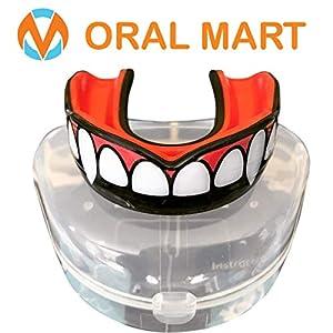 Oral Mart Zahnschutz mit belüftetem Koffer für Karate, Boxen, Kampf, Taekwondo, Rugby Fang/Vampir Schwarz und Rot