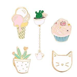 Beyond Brosche Anstecknadel Anstecker Pins Metall 5 Stück Set Kaktus Katze Eiscreme Cupcake