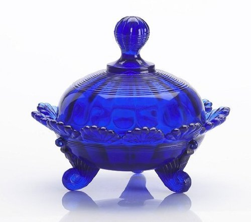 Solid Cobalt Blue Glass Footed Covered Candy Dish Klondyke Pattern by Klondyke Pattern -