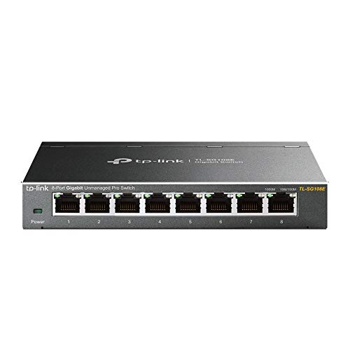 TP-Link TL-SG108E 8-Port Gigabit Switch (Plug und Play, Gigabit Ports, Metallgehäuse, VLAN, QoS)
