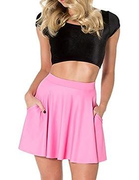 Honghu Verano Impresión Digital de la Moda Mini Kilt Falda para Mujer