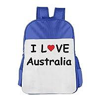 I Love Australia School Backpack Children Shoulder Daypack Kid Lunch Tote Bags RoyalBlue