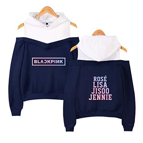 09f469b333 SIMYJOY Blackpink Strapless Schulterfrei Damen Kapuzenpullover Sex Casual  Sport Frauen Hoodie Frühling Mädchen Langarm Sweater Blau