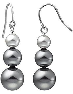 Heideman Damen Ohrringe Fischhaken 3 Perlen Ohrstecker siber farbend matt aus Edelstahl mit Perle weiß grau oder...
