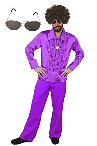 ILOVEFANCYDRESS MÄNNER Disco Dance Night Fever KOSTÜM VERKLEIDUNG=Kult HITPARADEN 70iger ODER 80iger Fasching ODER Karneval=BREITEM Kragen UND RÜSCHEN=Hemd-SMALL+Hose - 1960's Dance Kostüm