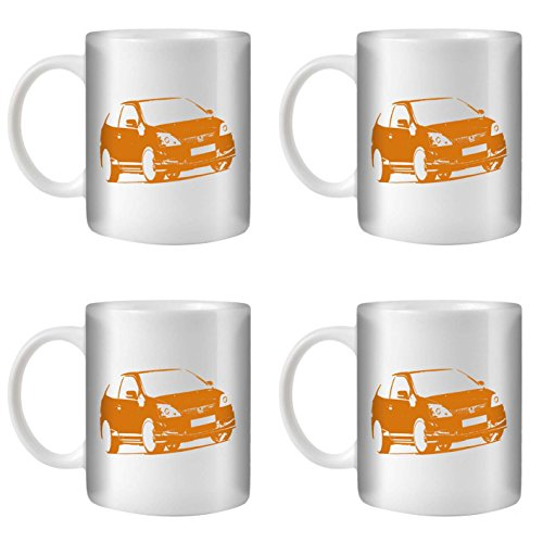 STUFF4 Tee/Kaffee Becher 350ml/4 Pack Orange/Civic Type R EP3/Weißkeramik/ST10 (Honda Civic Hatch)