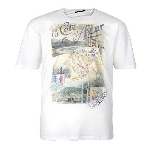 XXL Kitaro T-Shirt offwhite mit stylischem Fotodruck Weiß