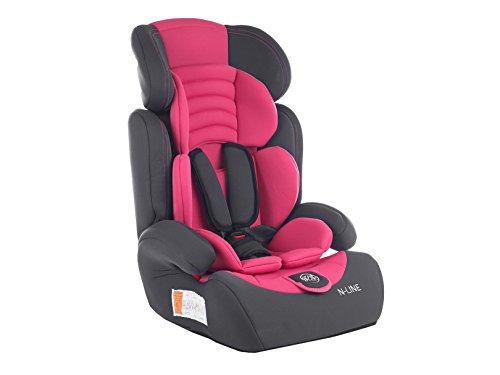 Autokindersitz Autositz Kinderautositz mit Extrapolster Kids 9-36 kg 1+2+3 ECE 4 Farben NEU Kindersafety NEU + ECE R44/04 geprüft, Farbe BLAU GRAU PINK GRÜN 5-Punkte-Sicherheitsgurt Kopfstütze verstellbar (KP0101PIN)