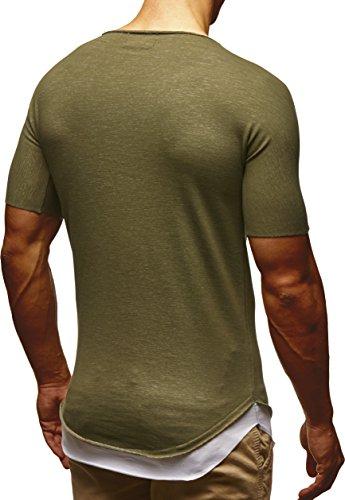 LEIF NELSON Herren T-Shirt Top Tiefer Rundhals Ausschnitt Kurzarm-shirt Basic Crew Neck LN6346 Khaki
