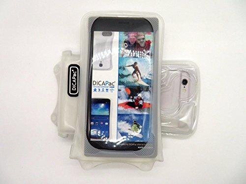DiCAPac WP-i10 Apple iPhone 3/3G/3S/4/4S/5/5S/5C/6 Wasserdichte Hülle in Blau (Doppel-Klettverschluss, IPX8-Zertifizierung zum Schutz vor Wasser bis 10m Tiefe; integriertes Luftkissen treibt auf dem  Weiß