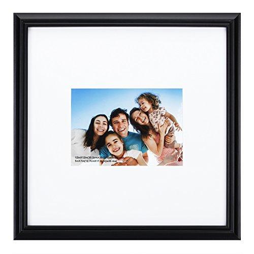 10,2x 15,2cm Bilderrahmen aus massivem Holz Und High Definition Glas für Tisch klappbar und Wandmontage Bilderrahmen, holz, Black-line Edge, 11x11mat5x7 -