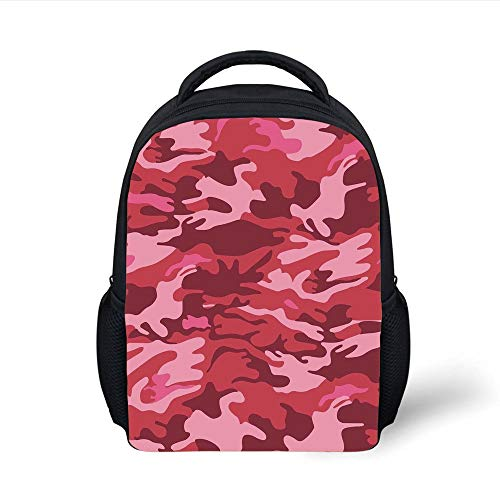 Kids School Backpack Camo,Soldier Clothing Inspired Design in Pink Tones Conceptual Autumn Theme,Light Pink Dark Coral Pink Plain Bookbag Travel Daypack
