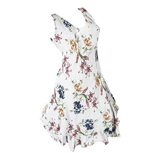 Wawer♥ Mode Damenmode ärmellose O-Ausschnitt 2 Layered Print Sommer Sonne Kleid Minikleid, Evening Dress Beach Dress Party Dress Beach (Blumen-sonne-kleid)