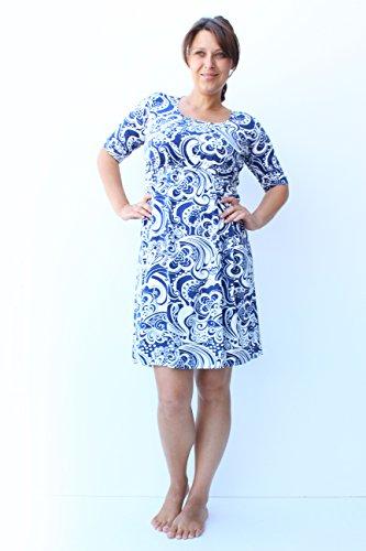 Mia maternity - Chemise de nuit spécial grossesse - Femme Blanc Blanc motif floral bleu