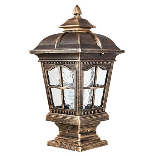 Volt-warm Weiss-cfl-lampe (Kylinhhd wasserdichte Säule Scheinwerfer Villa Tür Tor Garten Geländer Terrasse Balkon Stein Außen Post Laterne Lampe Vintage Säule Lichter (Color : Brass))