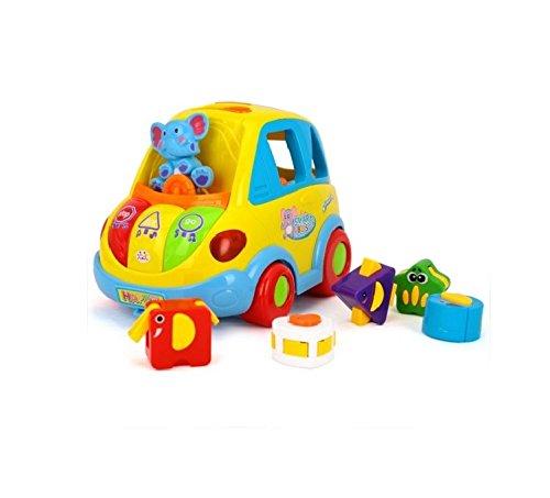 Frühe Bildung 18Monate + Old Baby Spielzeug Baby Traffic Auto mit Musik Licht und Animal quadratisch Blöcke für Kinder & Kinder Jungen und Mädchen
