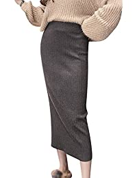 63293d27f805 Damen Rock Warm Lange Röcke Strickrock Stretch Einfarbig Slim Fit Bodycon  Röcke