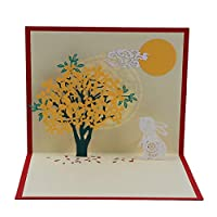 Beafavor Cute 3D Rabbit Flower Pop Up Cards Birthday Gift with Envelope Sticker Animal Greeting Cards Postcards