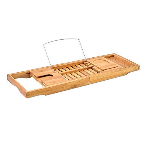 Bambusbadewanne Lagerung Einstellbar Bücherregal Tablett Veranstalter mit Erweiterbar Seitenhalter...
