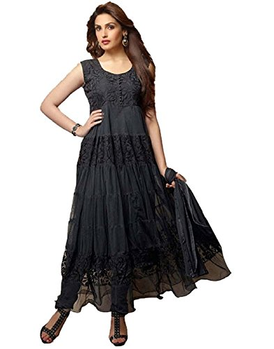 Surat Tex Black Color Party Wear Embroidered Net Brasso Semi-Stitched Anarkali-C337DLBLACKAM