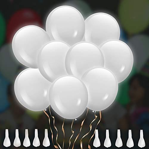 TURATA LED Luftballon 30 Stück leuchtende Ballons Weiß Schöne Ballons für Hochzeit Weihnachten Party Geburtstag Fasching
