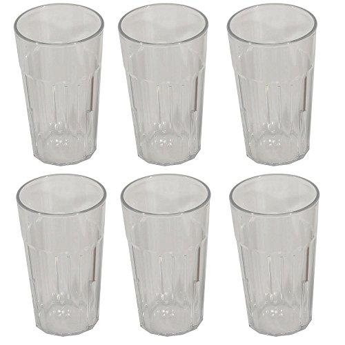 Viva Haushaltswaren - 6 x bruchfestes Longdrinkglas 300 ml, Wassergläser Set aus hochwertigem Kunststoff, edle Gläser für Camping, Partys (wie echtes Glas)