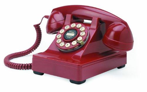 Wild & Wolf Series 302 - Teléfono fijo estilo clásico, color rojo [Importado de Reino Unido]