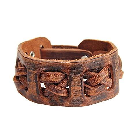 Caiyan Bracelet tissé à main en cuir , brown