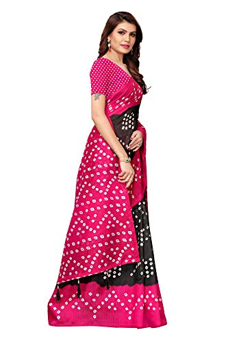 Indian Women's Art Silk Kalamkari and Bhagalpuri Style Sari with Blouse Piece RAJWADI Black PINK