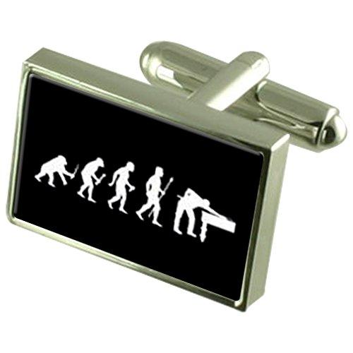 Evolution Affen zum Menschen Snooker Pool Manschettenknöpfe Crystal Krawattenklammer Bar Box Set eingraviert